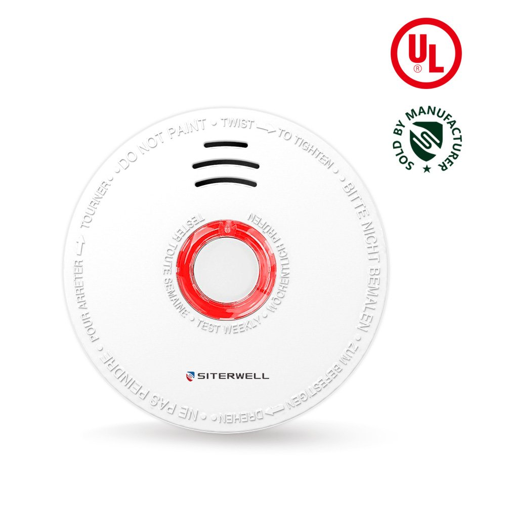 SITERWELL Smoke Detector and Battery Operated Smoke Alarm 10 Years Photoelectric Smoke and Fire Alarm with UL Listed, 9V Battery Included 1Year(GS528A)