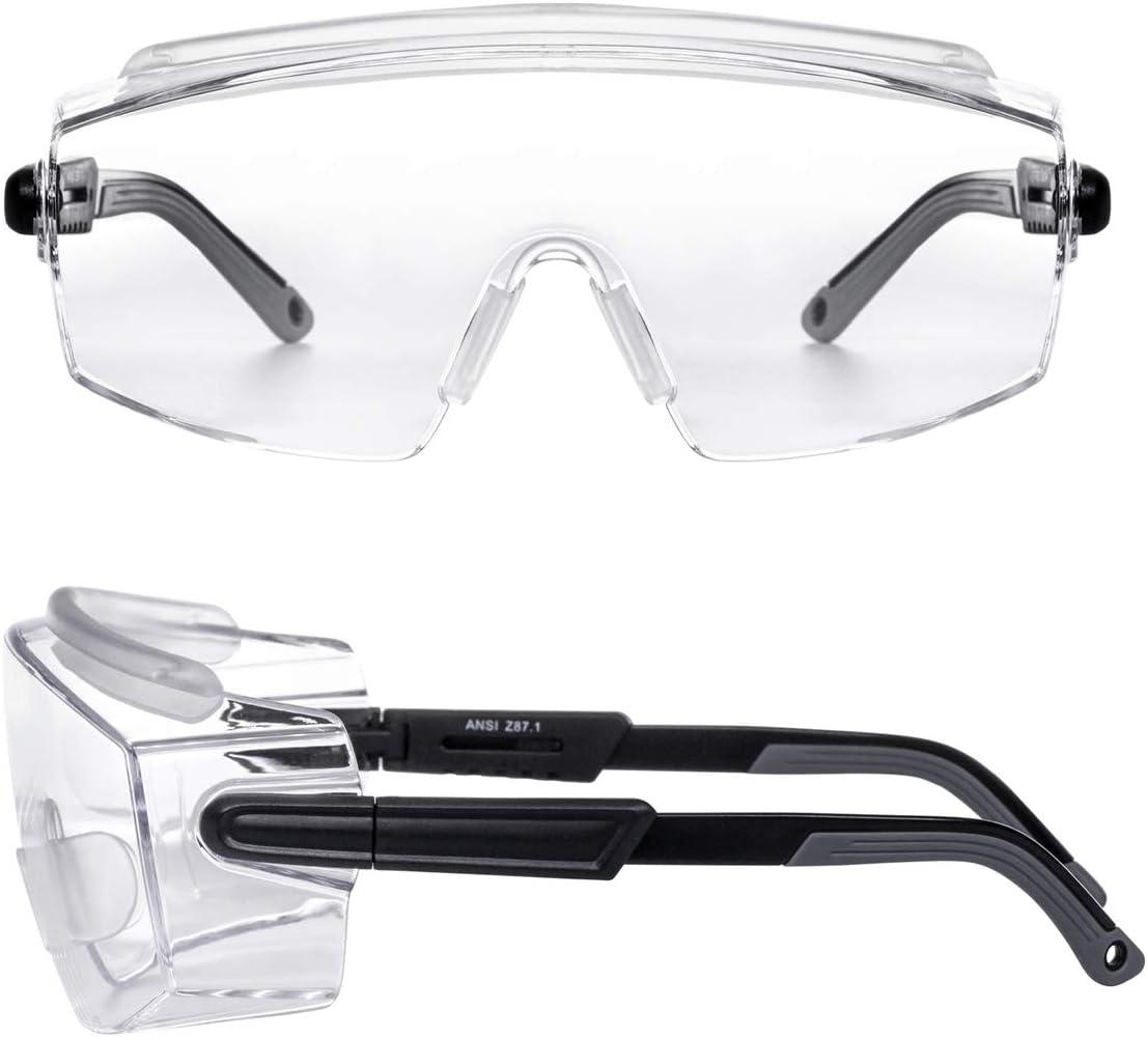 PAERDE Safety Glasses Protective Eyewear Fit Over Eyeglasses ...