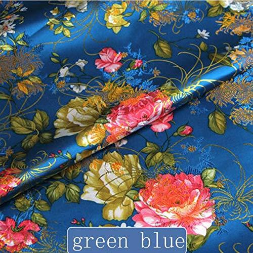 (Pukido 1pc 50cm70cm Chinese Ancient Silk Satin Brocade Cos Clothing Costume Dress Kimono Fabrics - (Color: Green Blue))
