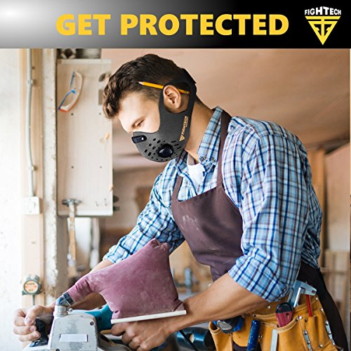 N99 Dust Mask by FIGHTECH with 4 Activated Carbon N99 Filters & 2 Air Valves. Dustproof Respirator Face Mask Protects from Dust, Allergy and Pollution. Good for Woodwork and Outdoor Activities (GRY) by FIGHTECH (Image #4)