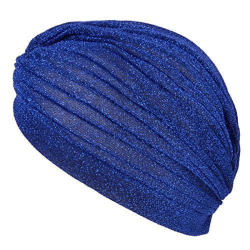 CHARM Casualbox | Glitter Fashion Turban Hat Twist Boho Headwrap Arabian Festival Chemo Hat Blue -