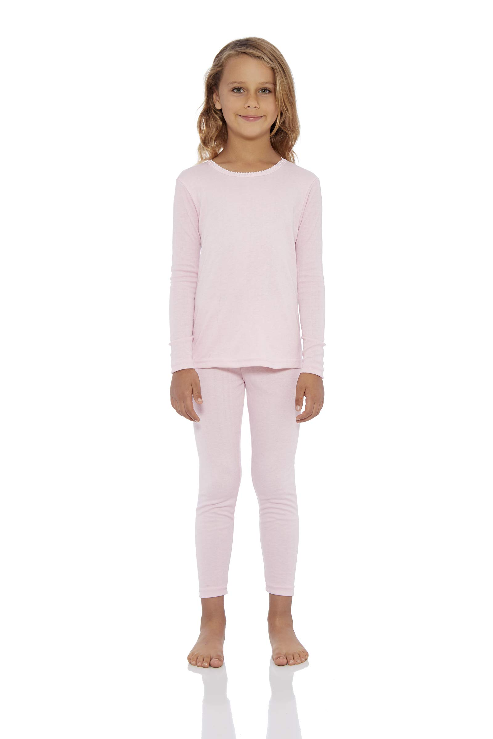 Rocky Girl's Smooth Knit Thermal Underwear 2PC Set Long John Top and Bottom Pajamas (Pink, XS) by Rocky