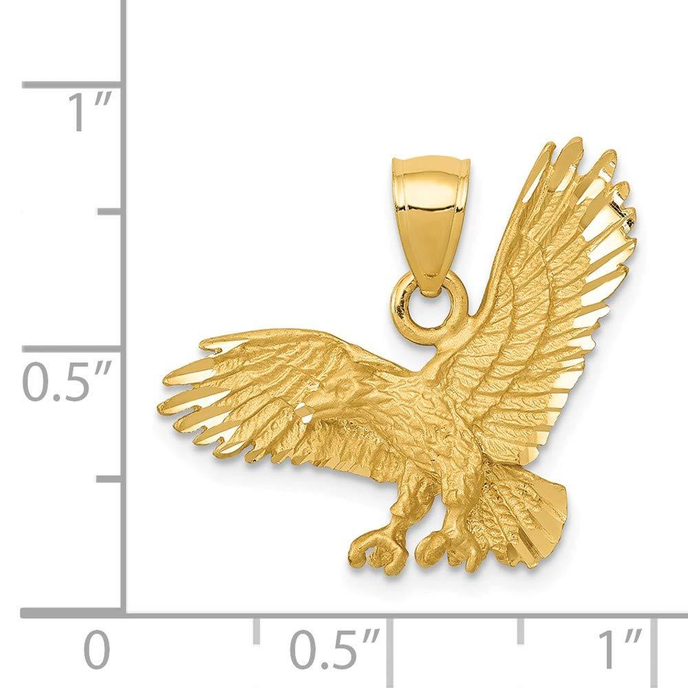 Mia Diamonds 14k Yellow Gold Satin Diamond-cut Eagle Pendant