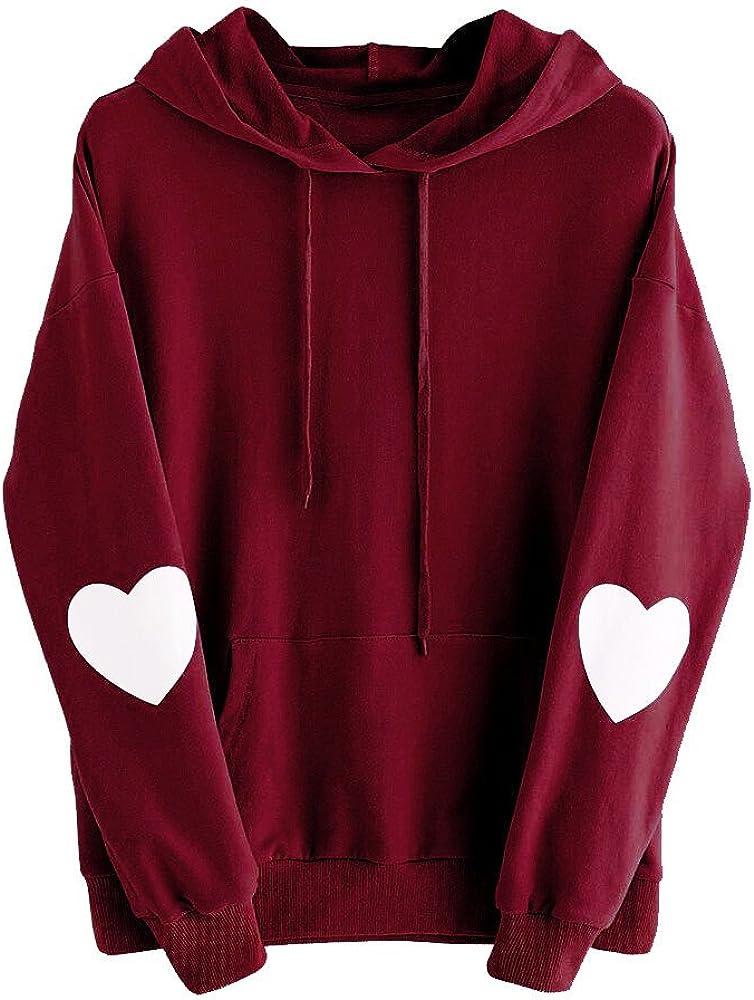 Womens Hoodies Fashion Women Girls Heart Printed Long Sleeve Hoodie Sweatshirt Hooded Pullover Tops Blouse