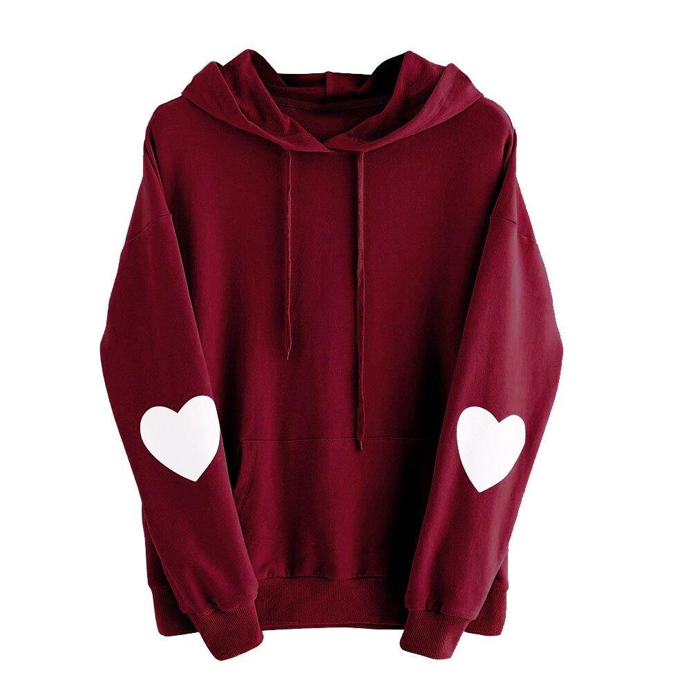NUWFOR Womens Long Sleeve Heart Hoodie Sweatshirt Jumper Hooded Pullover Tops Blouse T-6