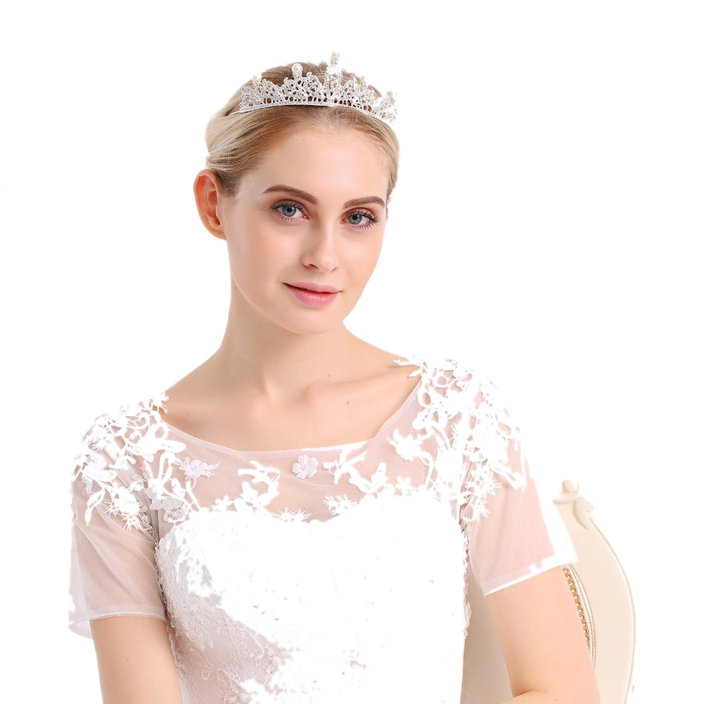 ZANHUI Moda Splendida Lega Perla Strass Corona Matrimonio Sposa Argento  Copricapo Ragazze Torta Di Compleanno Gioeilli Accessori Per Il Partito 7b2f99f450fb