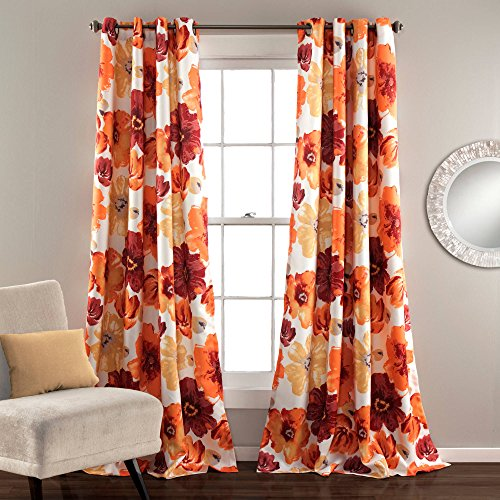 2 Piece Multi Color 84 Inches Geometric Floral Pattern Window Curtain Panel Pair, Red Orange Yellow Flowers Pattern Boho Chic Window Treatment Set Room Darkening Elegant Kids Teen Grommet, Polyester - Multi Color Pattern