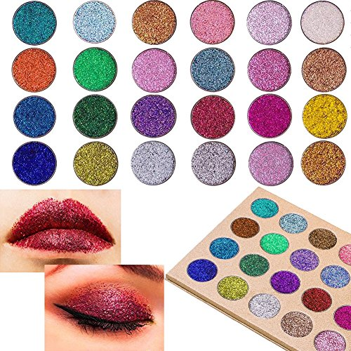 SUNTRIC 24 Color Highly Pigmented Diamond Glitter Rainbow Eye Shadow Palette Flash Shimmer Eyeshadow Make Up Palette by SUNTRIC (Image #2)