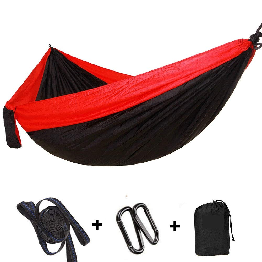 Black Hammock Camping Double & Single with Tree Straps  Outdoor Indoor Lightweight Nylon Portable Hammock for Backpacking, Travel, Beach, Yard
