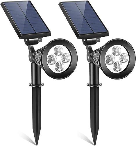 2PCS Solar Landscape Spotlights, Upgraded Solar Powered Spotlights Outdoor 2-in-1 Dusk to Dawn Sensor Lights IP65 Waterproof Wall Path Lawn Garden Lamp