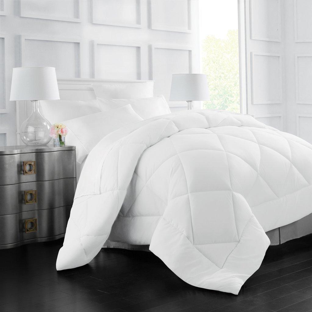 Italian Luxury Goose Down Alternative Comforter - All Season - 2100 Series Hotel Collection - Luxury Hypoallergenic Comforter - Full/Queen - White
