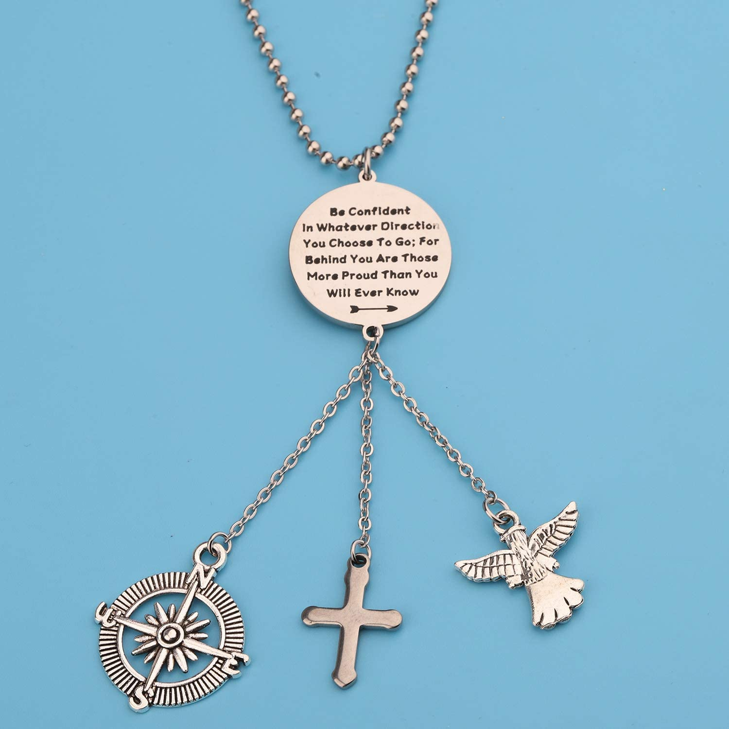 LQRI Guardian Angel Cross Car Charms for Rear View Mirror Be Confident in Whatever Direction You Choose to Go Car Hanging Ornament Car Interior Pendant Mirror Charms