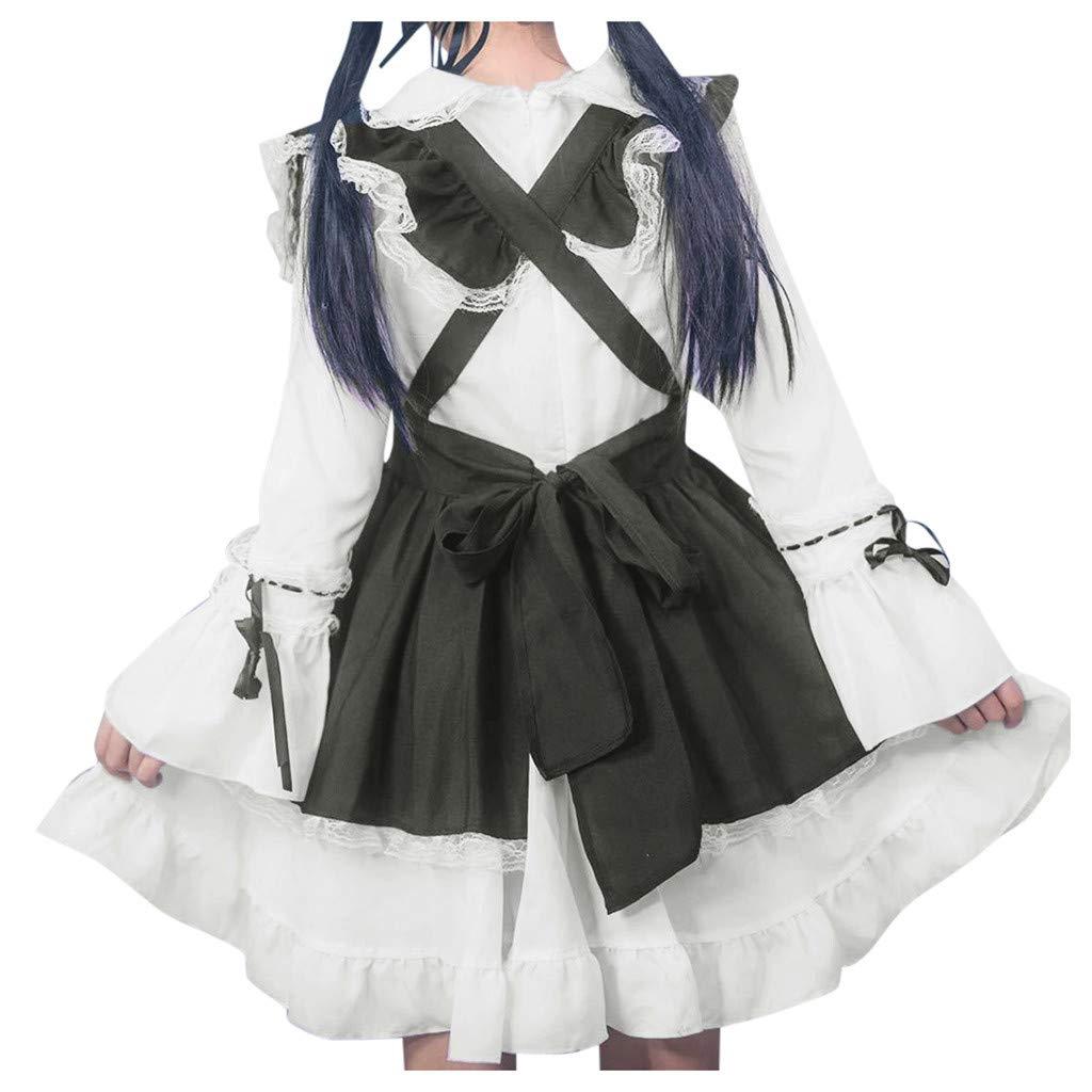 Women's Gothic Princess Cosplay Lolita Dress Halloween Costume Victorian Sweet Gothic Retro Dresses (L, Black) by sweetnice Women Dresses