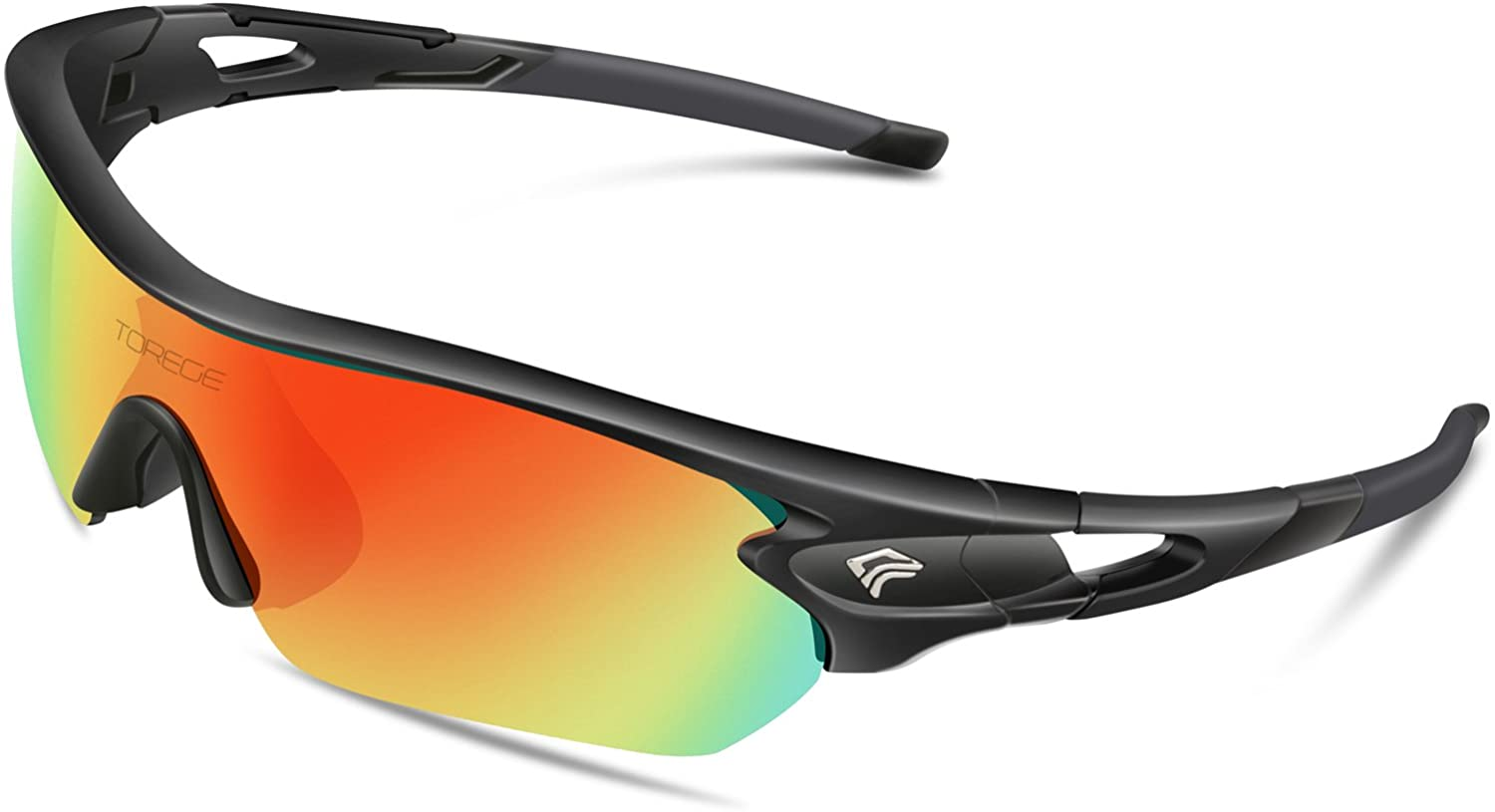 Torege Polarized Sports Sunglasses With 3 Interchangeable Lenes for Men Women Cycling Running Driving Fishing Golf Baseball Glasses TR002 Upgrade(Black&Black Tips&Rainbow Lens): Clothing