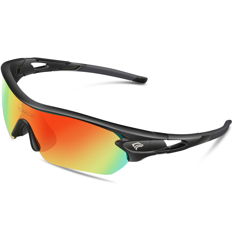 TOREGE Polarized Sports Sunglasses with 5 Interchangeable Lenes for Men Women Cycling Running Driving Fishing Golf Baseball Glasses TR002 (Black&Black Tips&Rainbow Lens)