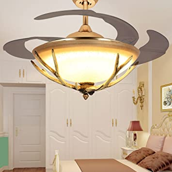 Great TiptonLight Gold Retractable Ceiling Fan With Antlers 42 Inch With Four  Become Light  Modern
