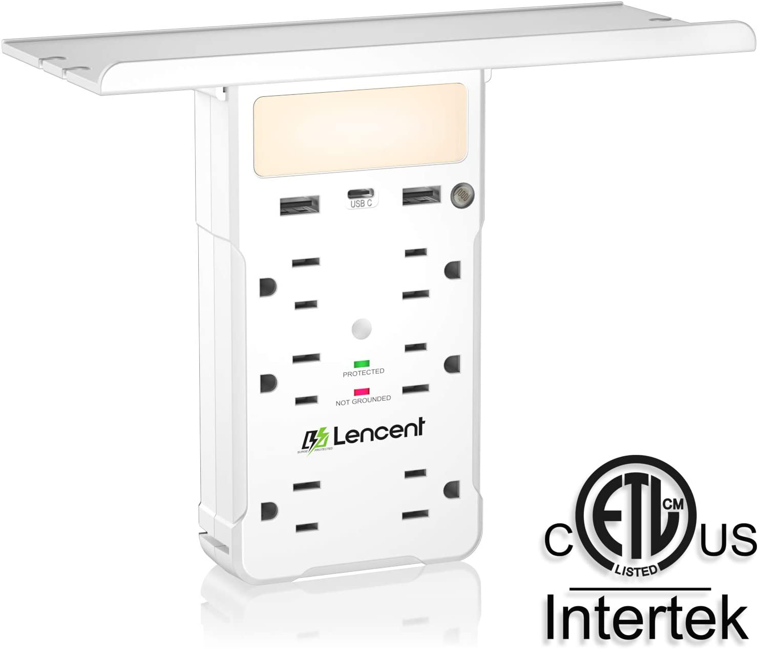 Multi Plug Outlet, LENCENT Surge Protector Plug Extender with Night Light, USB C (3.4A Total) and Shelf, USB Wall Charger Plug Adapter Power Strip Multiple Socket Splitter Expander - ETL Listed
