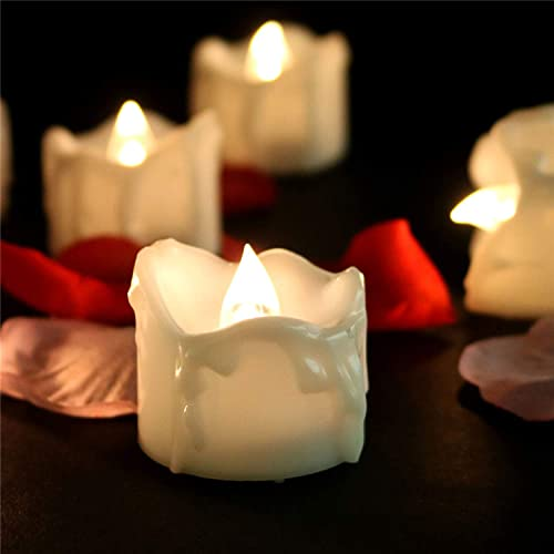 Flicker Timer Candle 6 Hours On 18 Hours Off Cycle Small Electric Timed Flameless Unscented Fake Artificial Decorative Tear Drop Shape Votive Battery Tealight For Christmas New Year, 24 Pack, 6012T