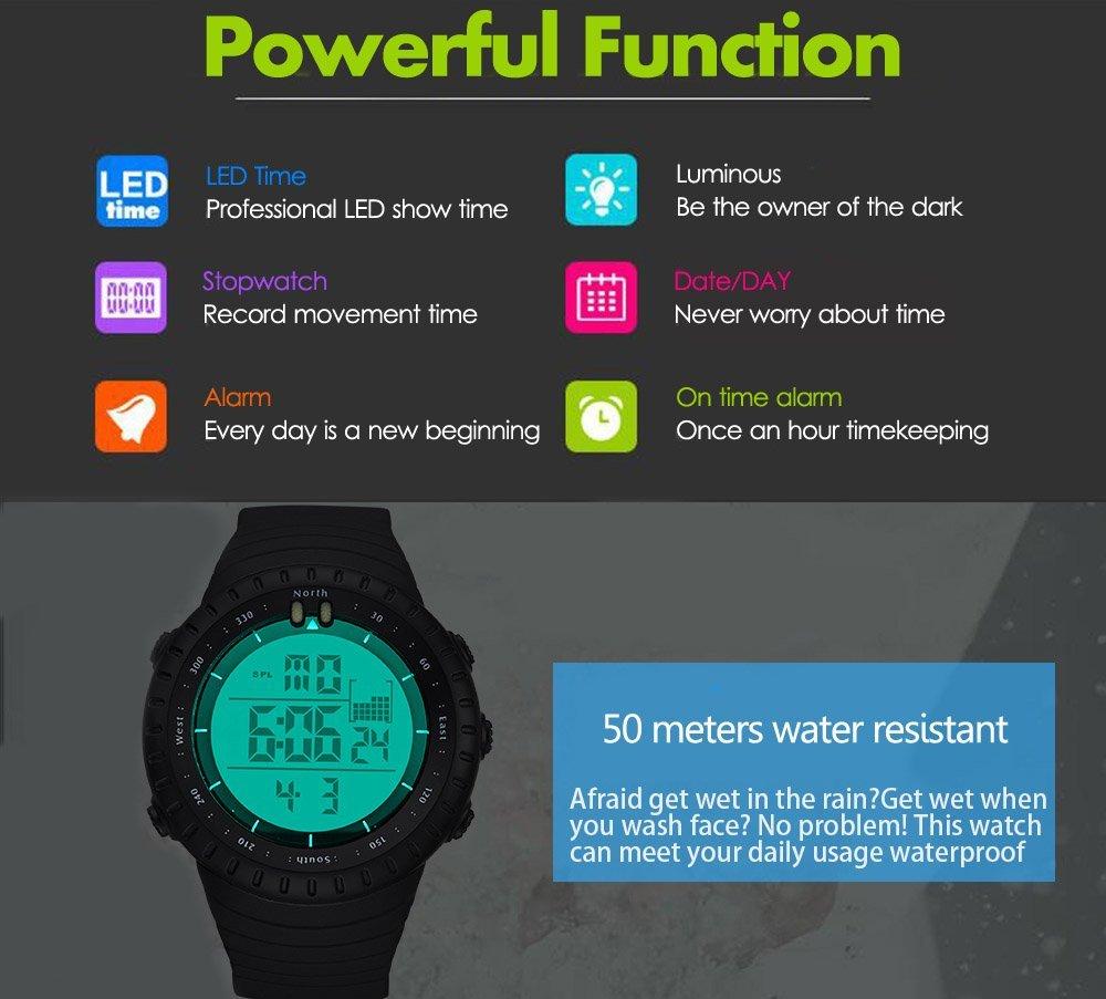 Digital deportivo Relojes para hombres, reloj despertador con cronógrafo LED retroiluminado para Chico: Amazon.es: Deportes y aire libre