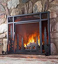 Small Mountain Cabin Fire Screen With Door
