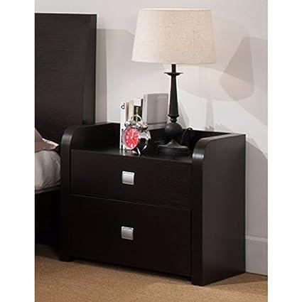 brand new 2a196 64c1d Benzara Beautiful Nightstand with 2 Storage Drawers, Dark Brown Night Stand