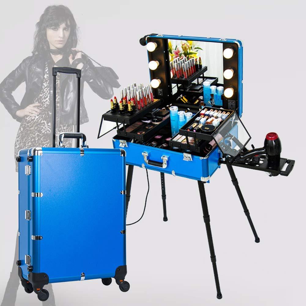 4d4ac1c3d297ae ... Make-upzug-Koffer-Friseur-Reise-Trolley-Organisator-Kasten mit dem  LED-Licht-Spiegel justierbar 360 Grad, das Universalrad dreht,Gold Blau  nclukj8017- ...