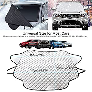 "Car Windshield Snow Cover & Sun Shade Protector, GoldFox Windproof Car Windshield Cover for Ice and Snow, Dust Frost Guard Protector, Fit for Most Cars in All Weather (57.87"" x 45.65"")"