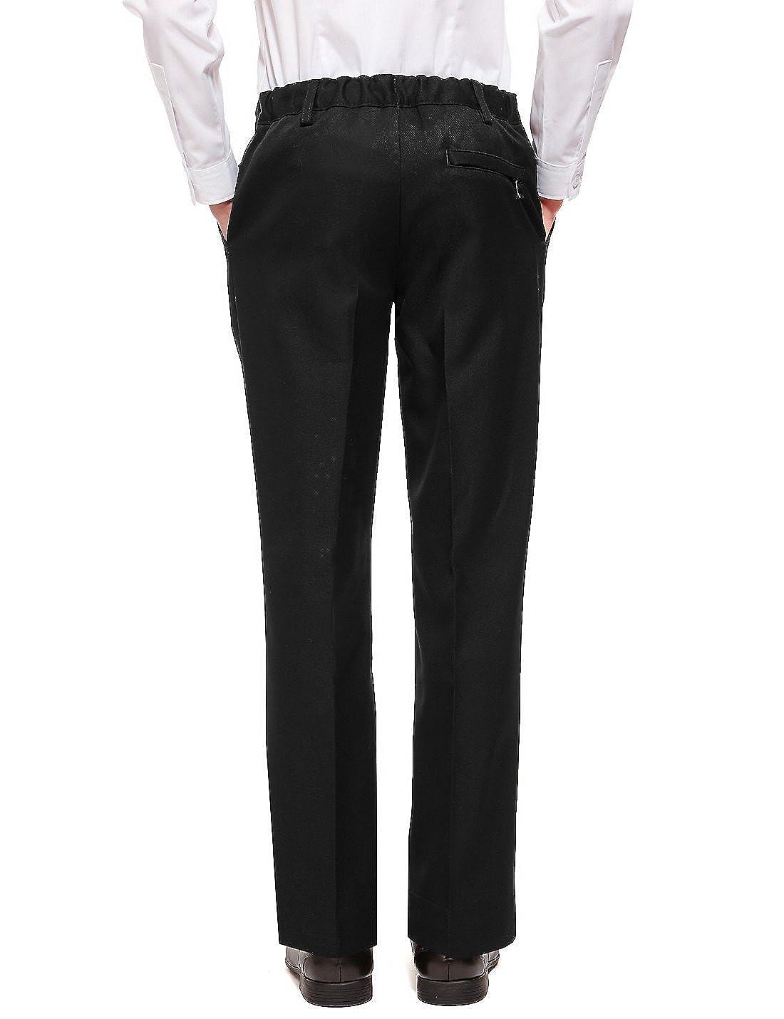 EX M/&S Boys Plus Fit School//Formal Trousers Generous Size Sturdy Short Leg Wider Adjustable Waist 2-16 Yrs Black Grey