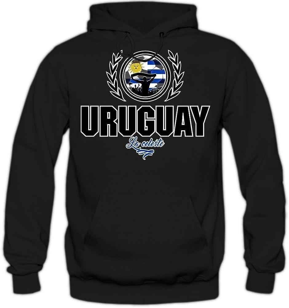 Shirt Happenz Fútbol Uruguay V2 Sudadera con Capucha | Hombre | Fútbol | Equipo Nacional | Selección Nacional | Uruguay | La Celeste | Hoody: Amazon.es: Ropa y accesorios