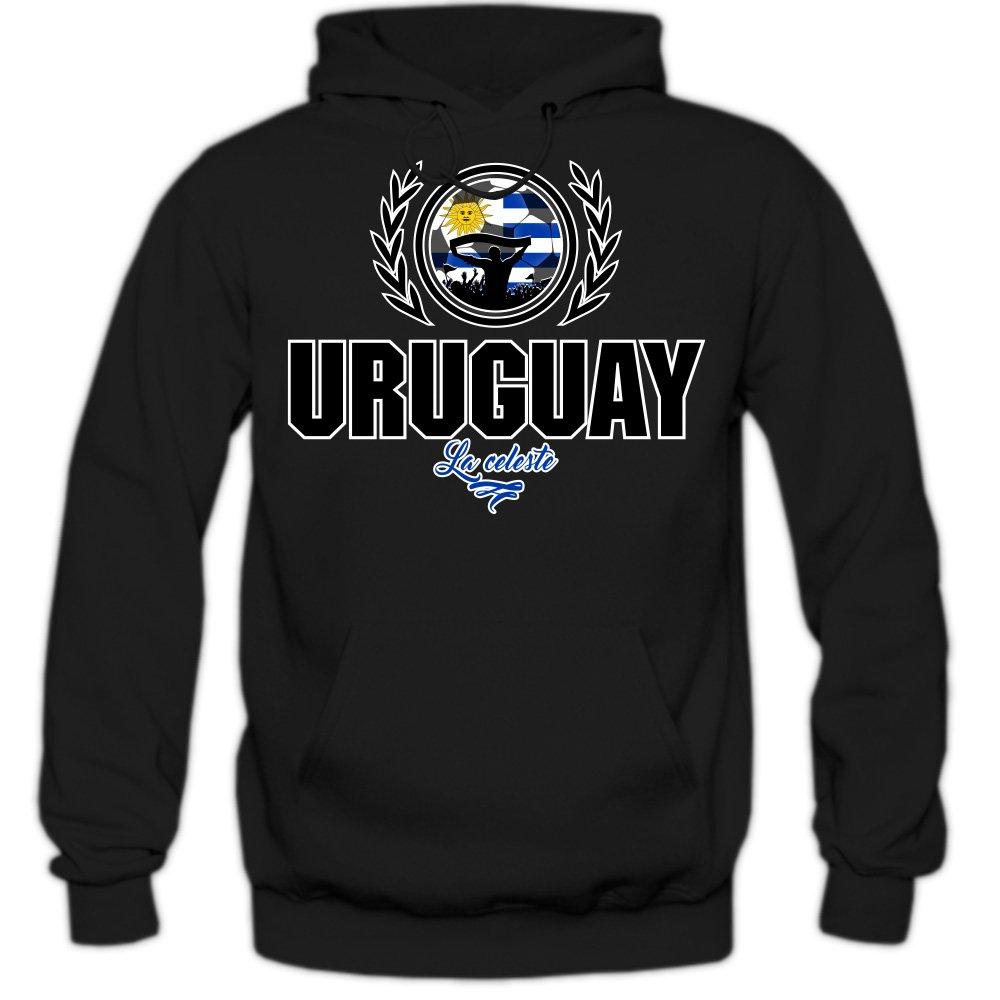 Shirt Happenz Fútbol Uruguay V2 Sudadera con Capucha | Hombre | Fútbol | Equipo Nacional | Selección Nacional | Uruguay | La Celeste | Hoody: Amazon.es: ...