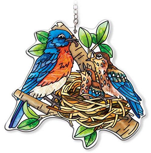 AMIA - Bluebird - Nested Birds Water Cut Suncatcher Bluebird Stained Glass Suncatcher