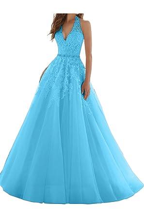 Ivydressing Damen Elegant Neckholder Spitze V-Ausschnitt Hochzeitskleid  Abendkleid Ballkleid-32-Blau