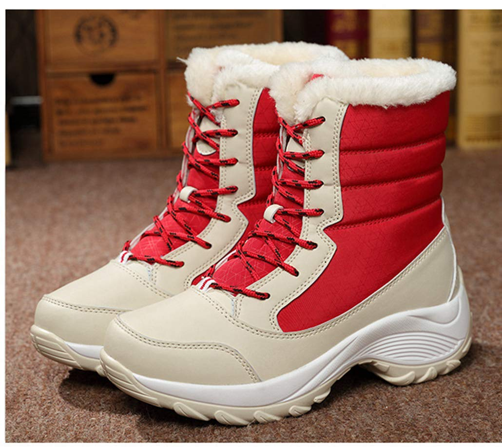Yaloee Womens Snow Boots Non-Slip Waterproof Women Platform Thick Fur Ankle Boots