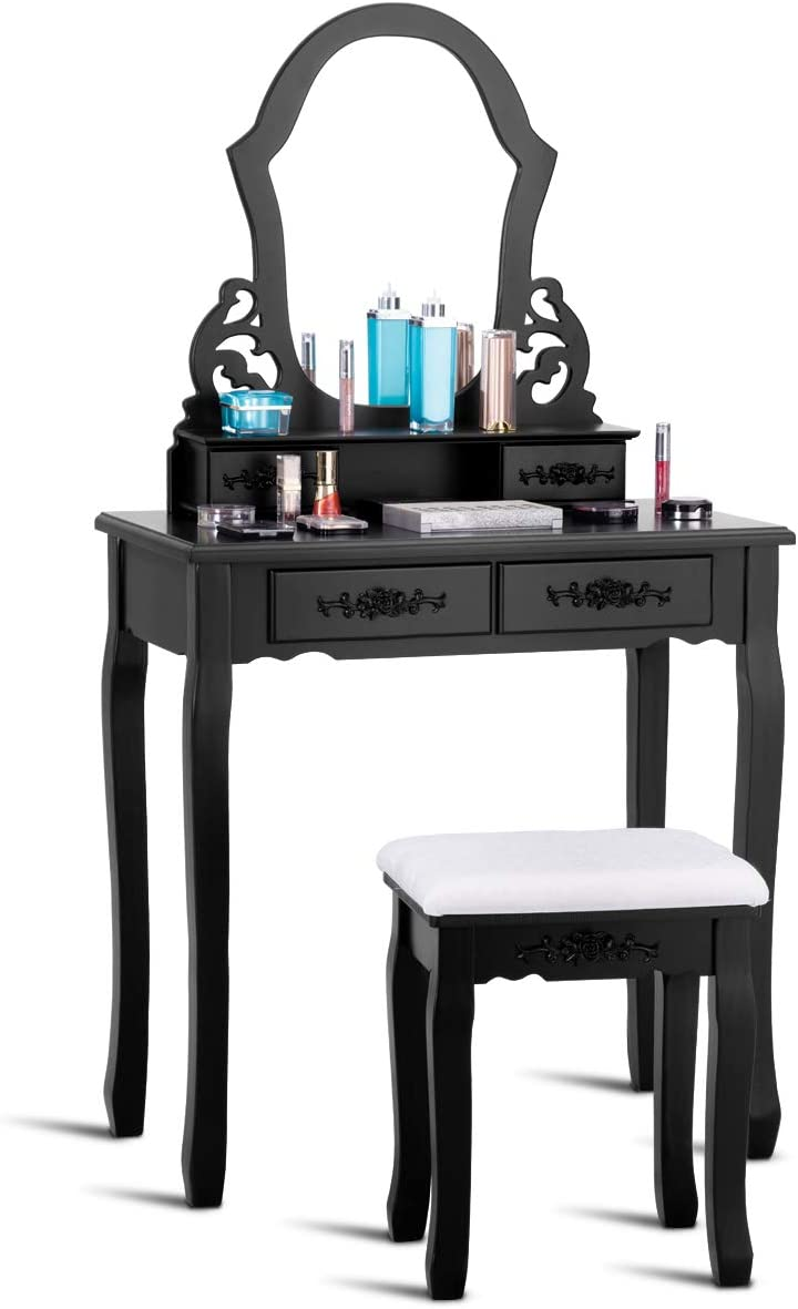 GOFLAME Vanity Set, Makeup Dressing Table W Upholstered Stool, Ultra-Clear Fan-Shaped Mirror, 4 Carved Drawers, Removable Top Part, 2 in 1 Multifunctional Design, Classic Pine Wood Material Black