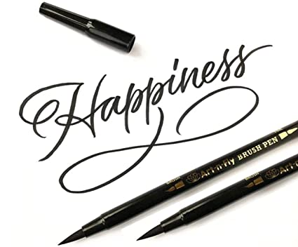 Art-n-Fly Dual Tip Black Brush Pens for Lettering Calligraphy Pen  Fine and  Large Black Brush Marker for Drawing (Pack of 2)