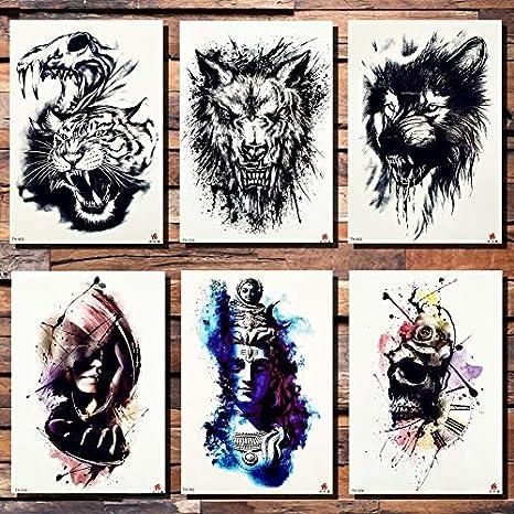 lihaohao Etiqueta Engomada del Tatuaje Temporallobo Tigre Tatuaje ...