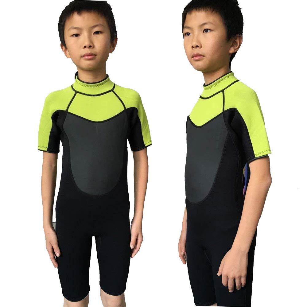 Realon Wetsuit Kids Shortie 3mm Boys Wetsuit Shorty Swim Suit Children Snorkeling Suits Surf Suit Jumpsuit (Black/Green, L)