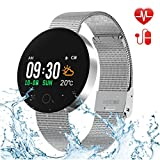 Bluetooth Smart Watch,Fitness Tracker with Heart Rate Monitor,Sleep Monitor,Waterproof Colorful Touch Screen Activity Tracker for Kids Women and Men,Smartwatch Pedometer for Android and IOS(Silver)