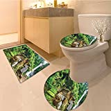 3 Piece Bath Rug SetBalinese Uluwatu Temple Bali Indonesia Seacoast Cliff Horizon Summer Seascape Picture Textures Non-Slip Bathroom Mats Contour Toilet Cover Rug