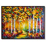 "In Liu Of | Modern Oil Painting ""Late Summer's Walk"" (Black Frame) Hand-Painted Fall Oil Painting 