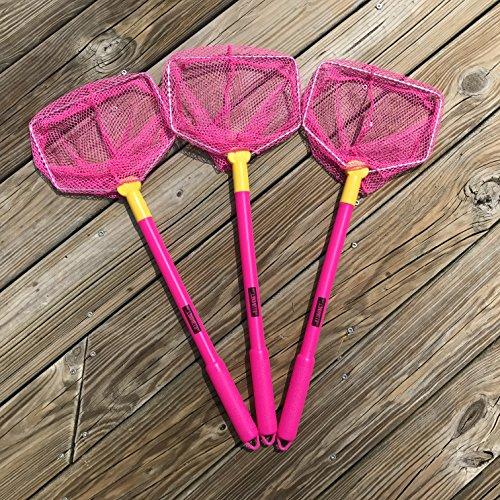 Illuminet 3 Pack Floating Bait Nets Pink: Beach Toys for Kids, Kids Beach Nets, Kid Fishing Nets, Butterfly Net, Beach Toy, Shelling Net, Dip Net, Crab Net, Critter Net, Fish Net, Bug Net, Minnow Net