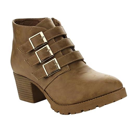 ROOT-3 Women's Buckles Lug Sole Block Low Heel Ankle Booties Color:KHAKI Size:7