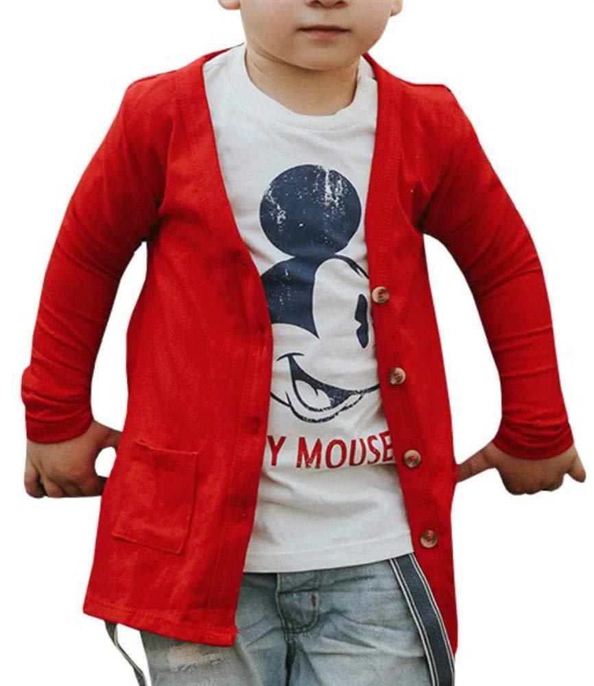 KunLunMen Boys Girls V Neck Long Sleeve Tops Button Down Cardigan Pockets