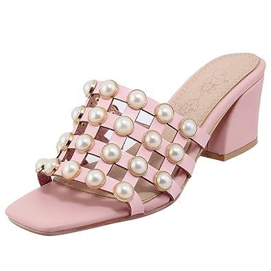 Artfaerie Damen Peeptoes Slingback Pantoletten Slipper mit Dicker Absatz Bequem Sandalen Lack Mules Elegante Loafers Schuhe  36 EUSchwarz