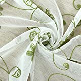 Yiwant Sheer Curtains Floral Embroidery Rod Pocket Curtains, Door Window Balcony Tulle Room Divider, 54 inchs Width x 84 inchs Length, 2 Panels, Green, Style # 1001-1104