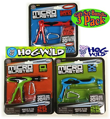 Hog Wild Micro Blasters Rubber Band Shooter, X-Bow (Cotton Swab Shooter #1) & Q-Shot (Cotton Swab Shooter #2) Complete Gift Set Battle Bundle - 3 Pack