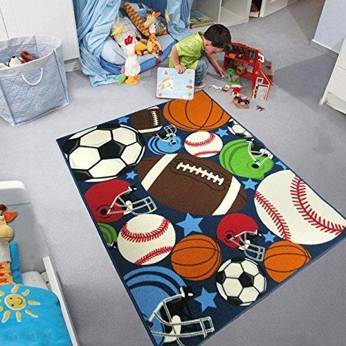 Blue Kids Rug Fun Sport Rugs Nylon Carpet Boys Girls Childrens Rug Balls Print with Soccer Ball, Basketball, Football, Tennis Ball Bedroom Playroom 51'' x 75''