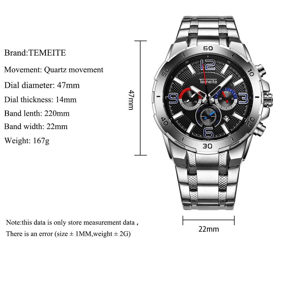 Ny klocka herr kvartsur vattentätt armband rostfritt stål klocka chronograph, armband, Tamet silverbox Tamet silverbox