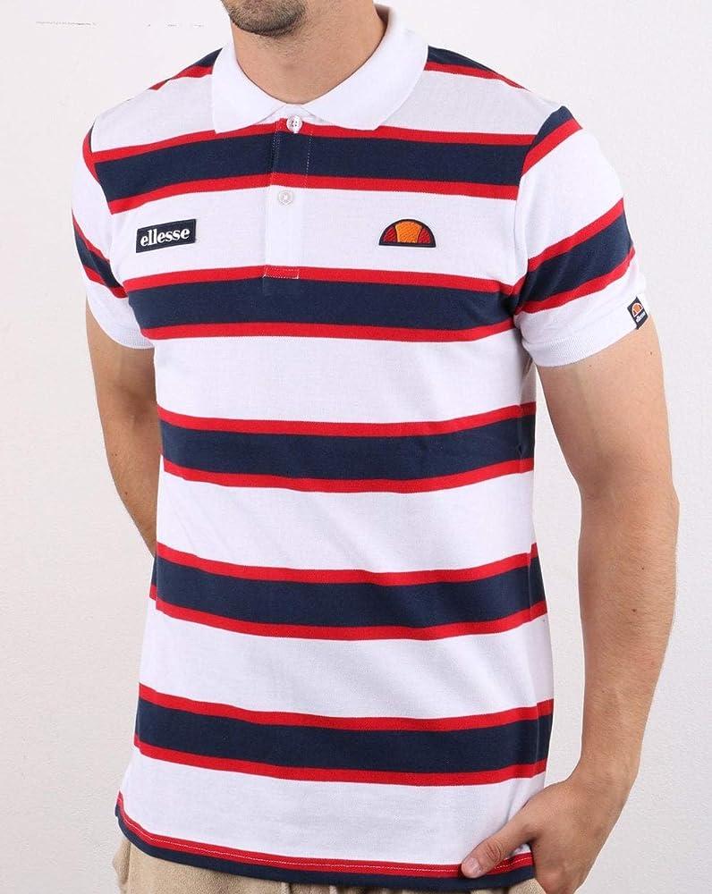 Ellesse Bold Stripe Polo Shirt White/Navy/Red L: Amazon.es: Ropa y ...