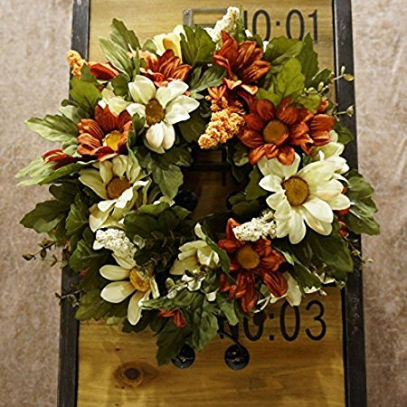 Decorative Seasonal Front Door Wreath Best Seller - HanSogYupk dcrafted Wreath for Outdoor Display in Fall, Winter, Spring, and Summer 13 inches (Coffee Color + Orange)